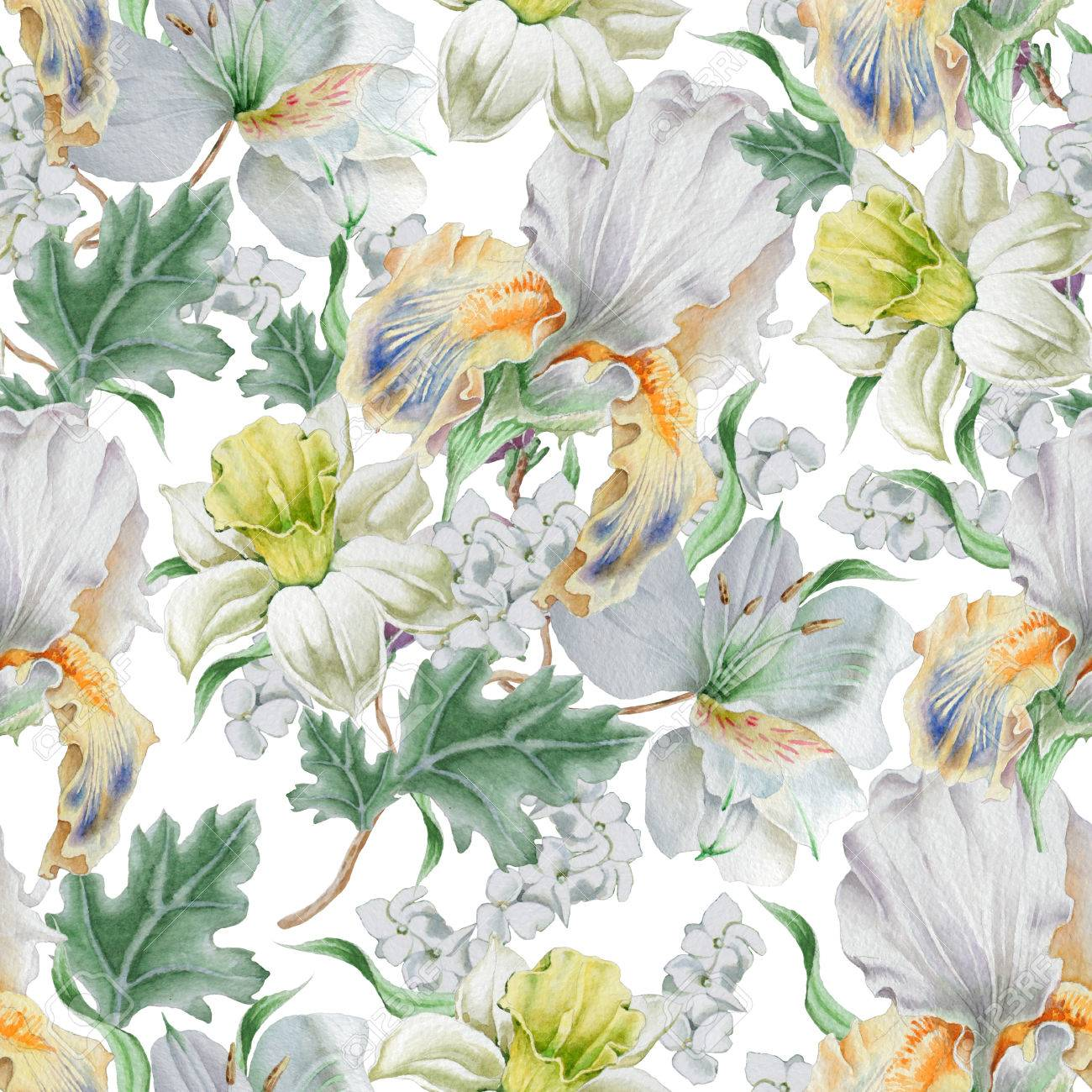 Seamless Pattern With Flowers Narcissus Iris Lily Watercolor