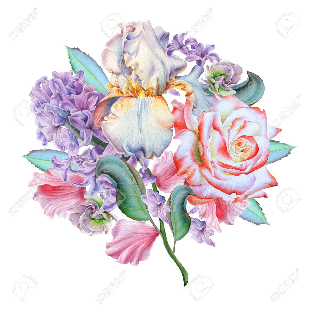 Watercolor bouquet with flowers rose iris hyacinth watercolor bouquet with flowers rose iris hyacinth illustration hand drawn dhlflorist Choice Image