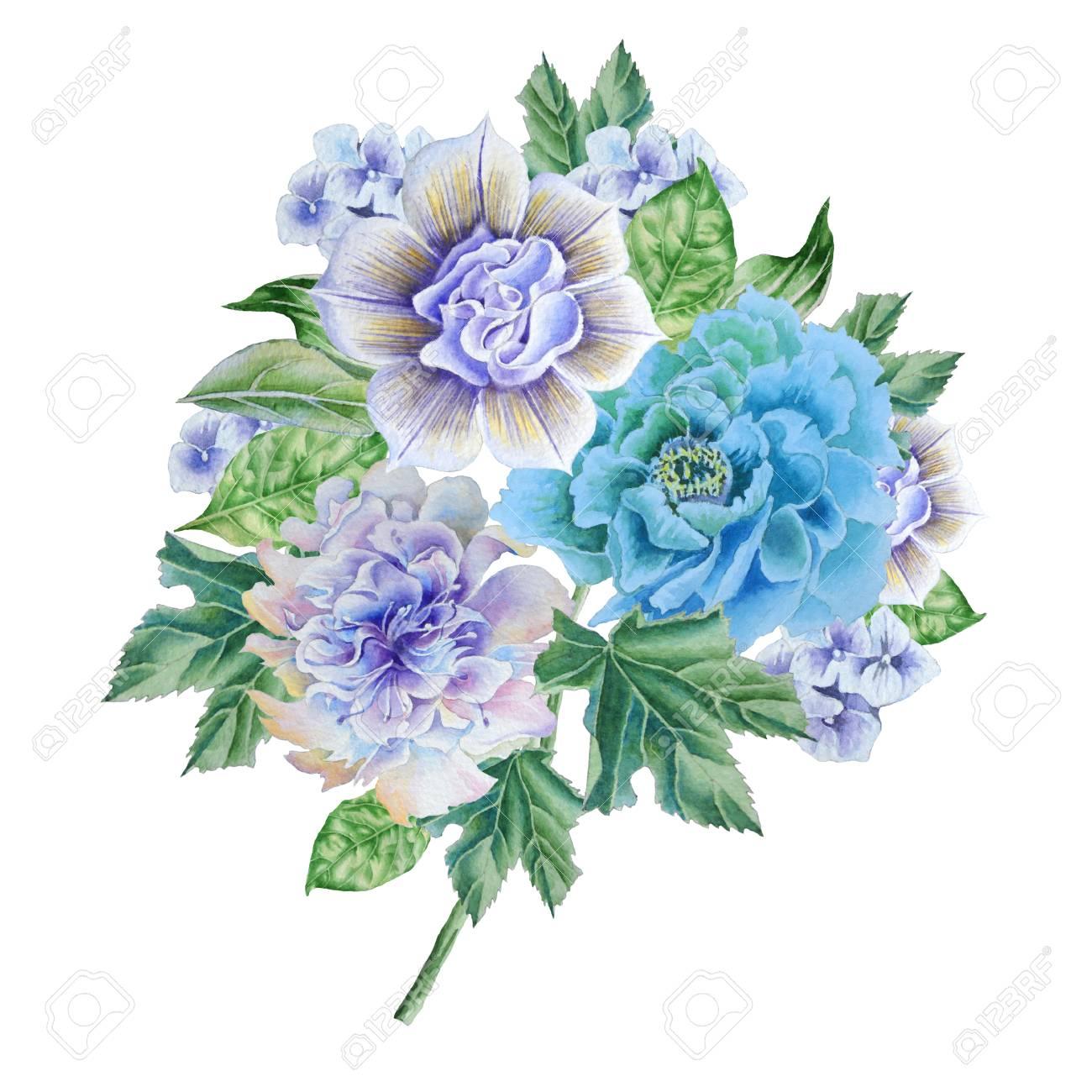 花の水彩画の花束 イラスト 手描き の写真素材 画像素材 Image 90504840
