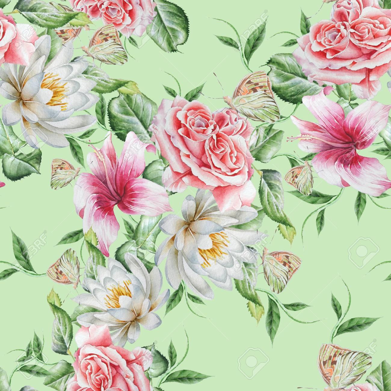 花と明るいシームレス パターンローズ ハイビスカスユリ蝶