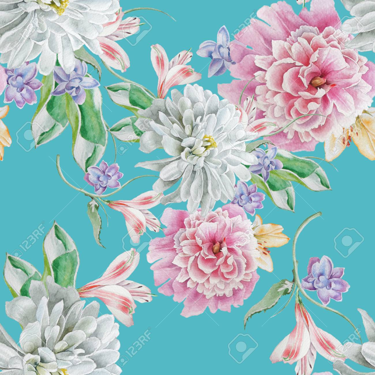 Bright seamless pattern with flowers. Watercolor illustration. Chrysanthemum. Peony. Hand drawn. - 92347953