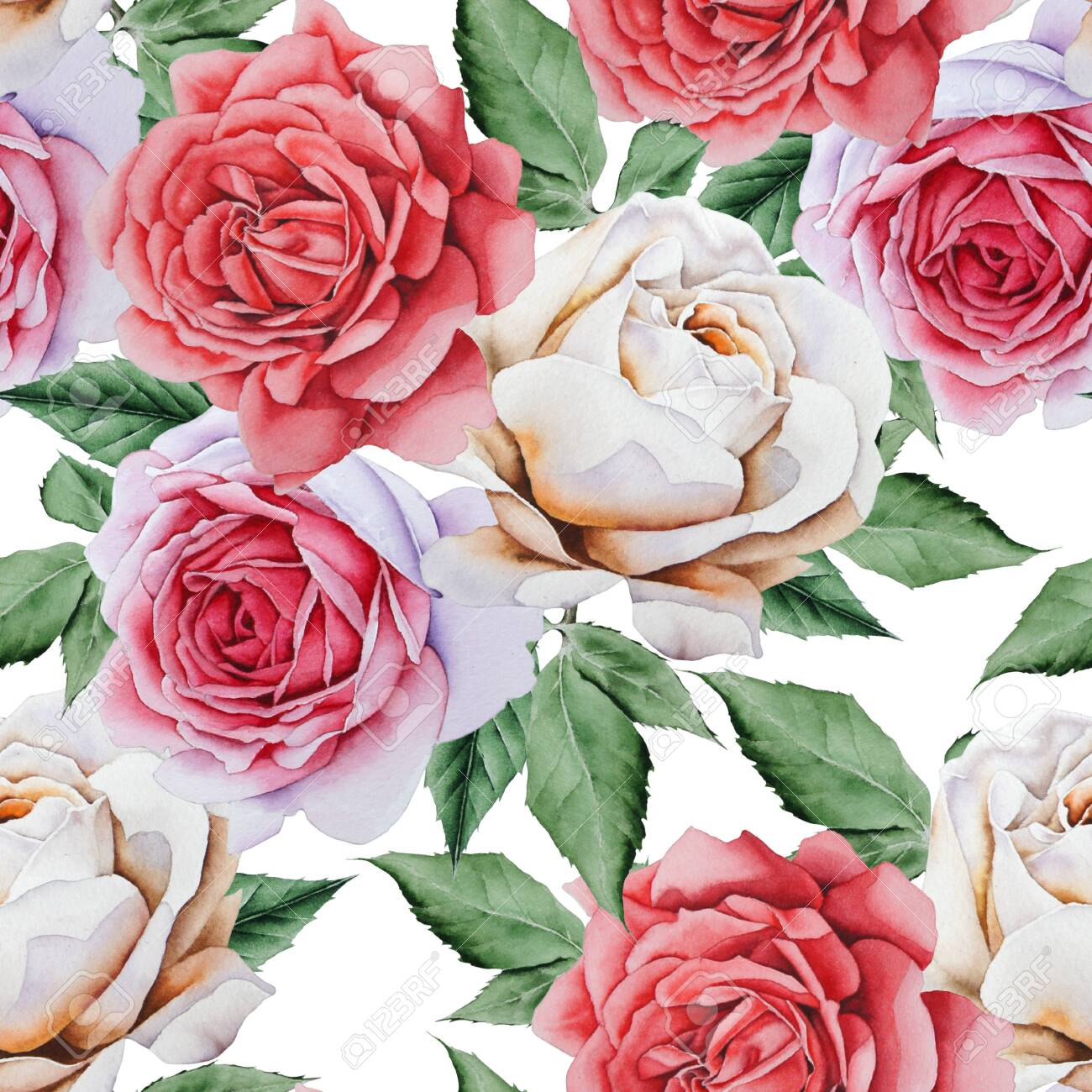 Bright seamless pattern with flowers. Rose. Watercolor illustration. Hand drawn. - 126288934