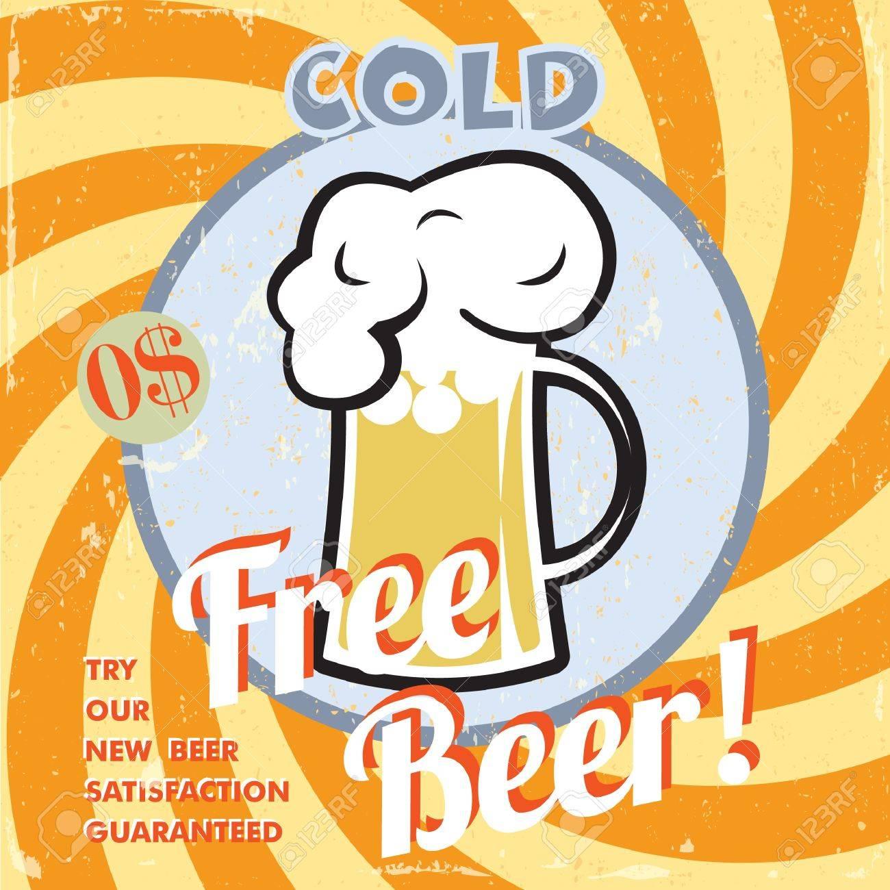 Vintage free beer poster Stock Vector - 19378228