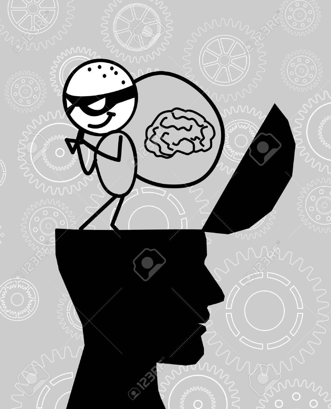 thief take the brain head Stock Vector - 10808670