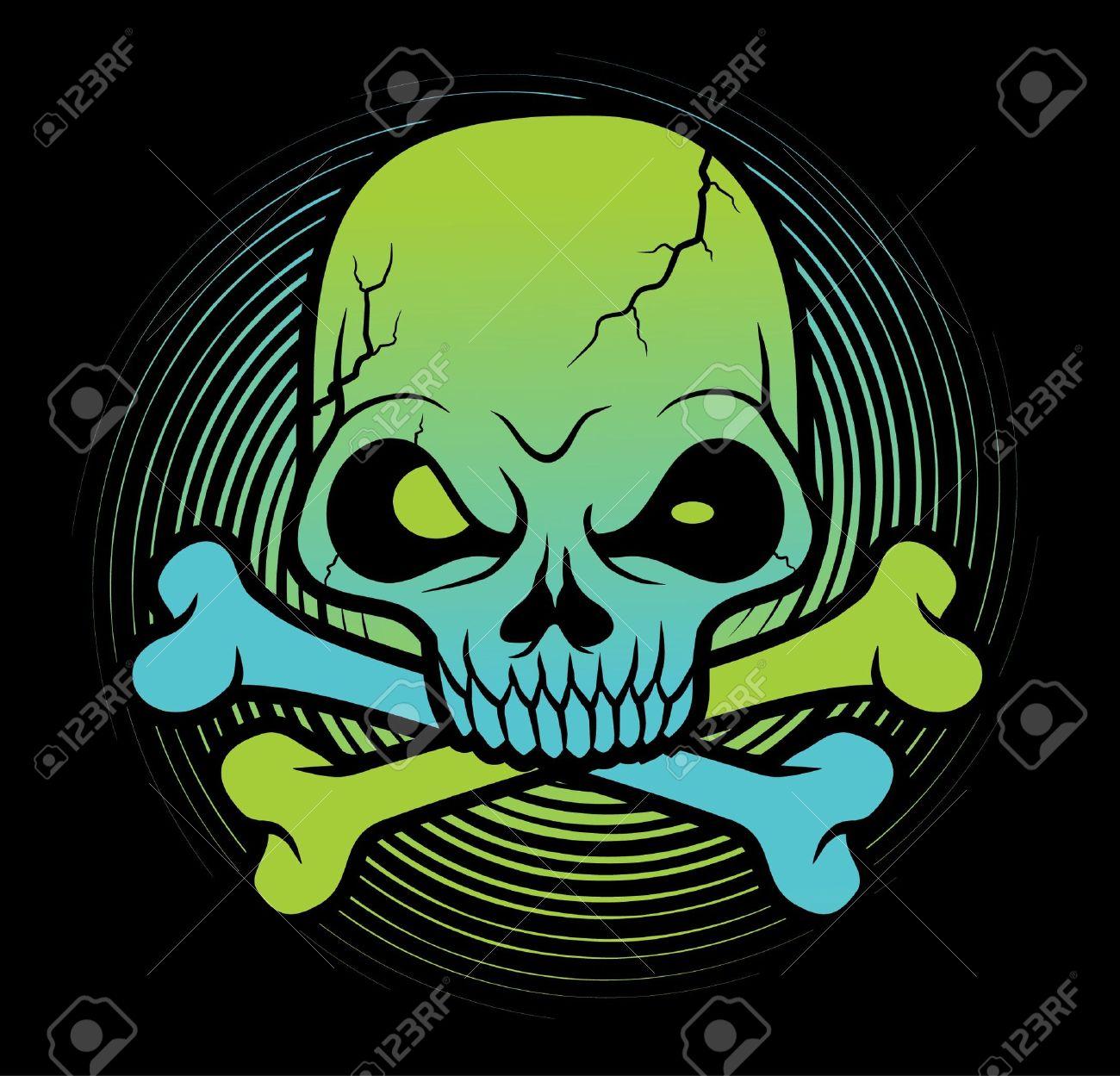 green Skull head vector illustration Stock Vector - 11079443