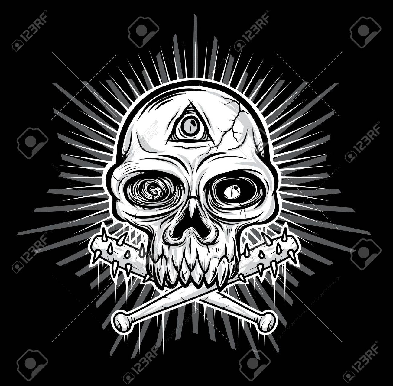 black white Skull head vector illustration Stock Vector - 11079441