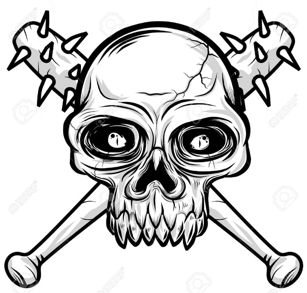 black white Skull head illustration Stock Vector - 11079380