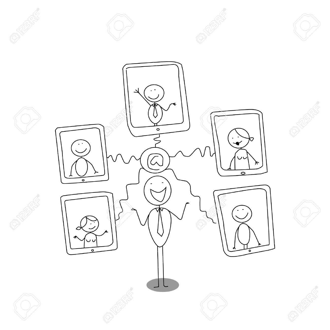 tablet internet cartoon Stock Vector - 11143515