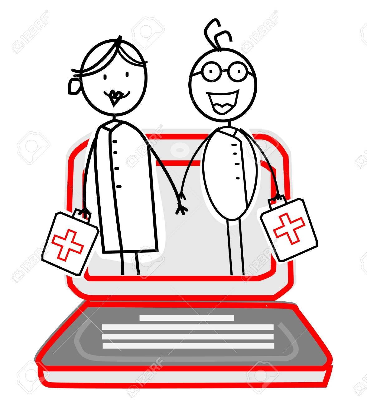 doctor & nurse with Online Service Stock Vector - 11815112