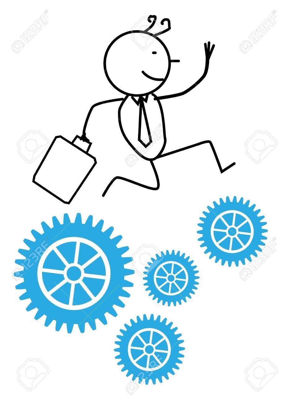 Businessman Run Gear Stock Vector - 12053681