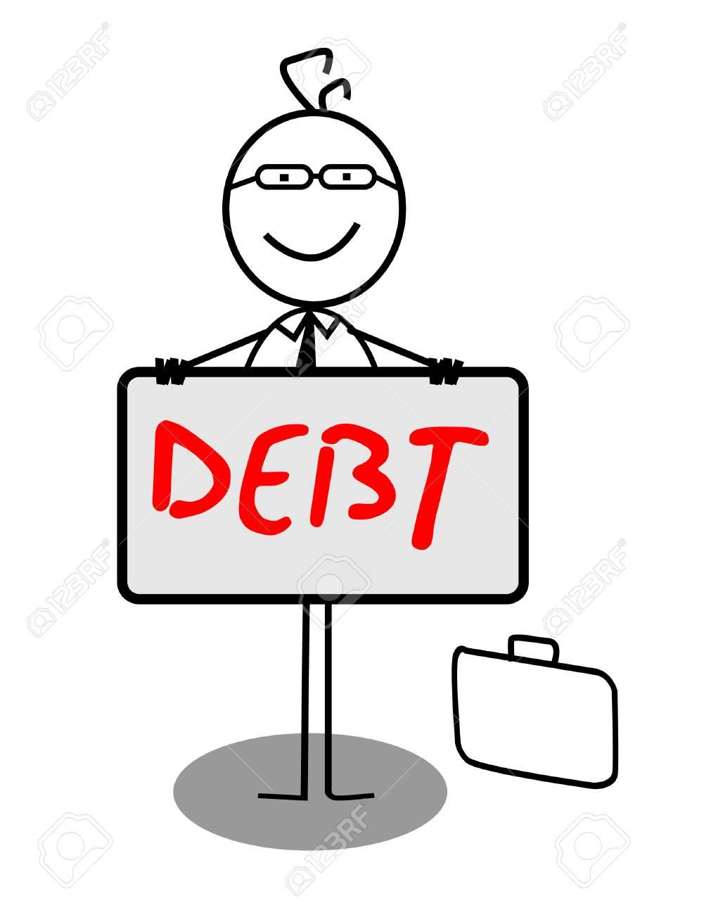 Businessman Happy Debt Banner Stock Vector - 13189349