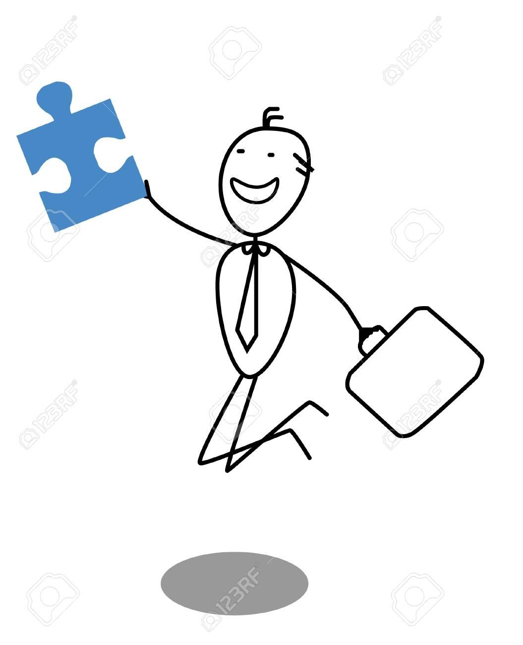 businessman and Jigsaw Stock Vector - 13325031