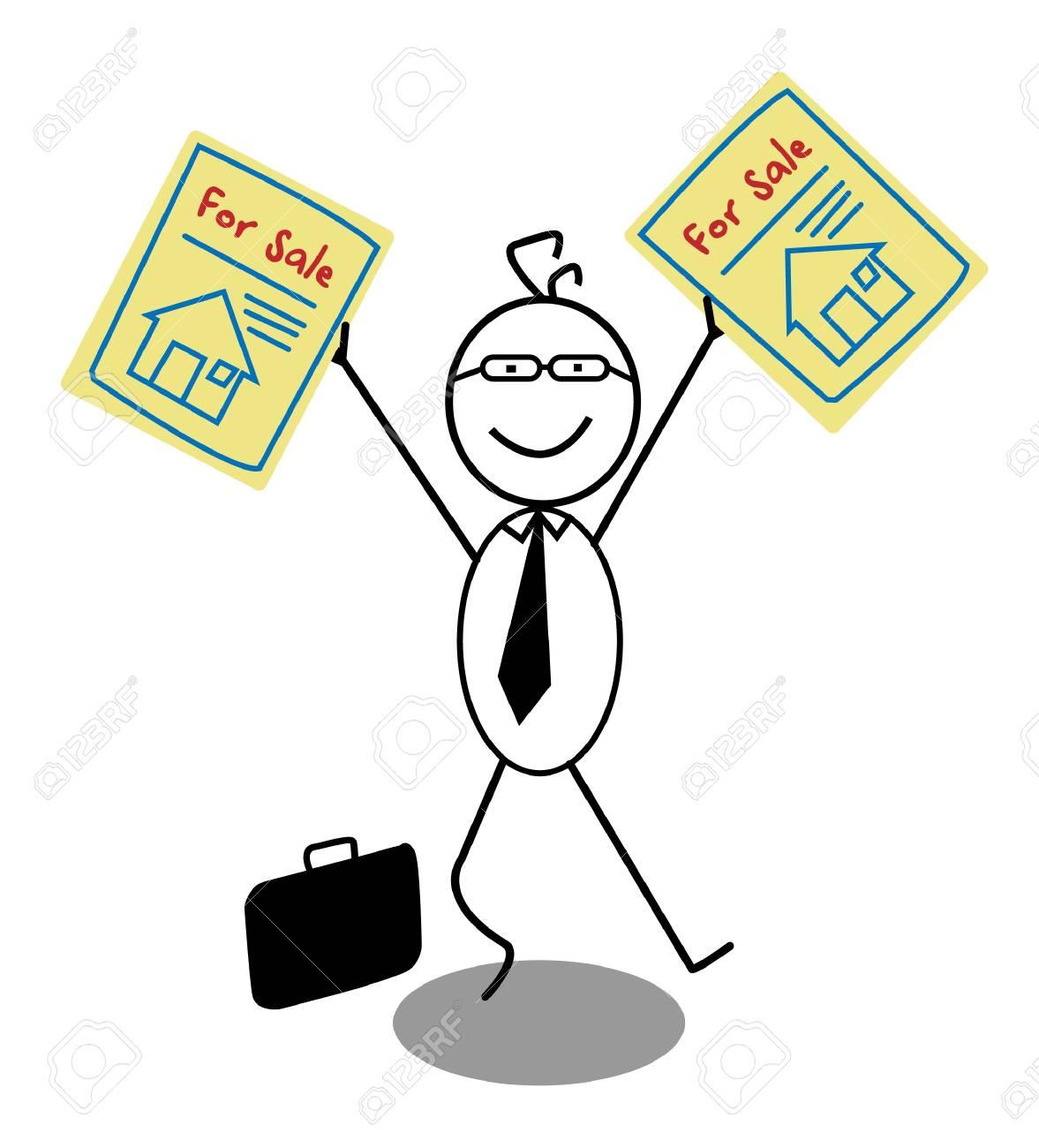 Businessman Sale House Stock Vector - 13654796