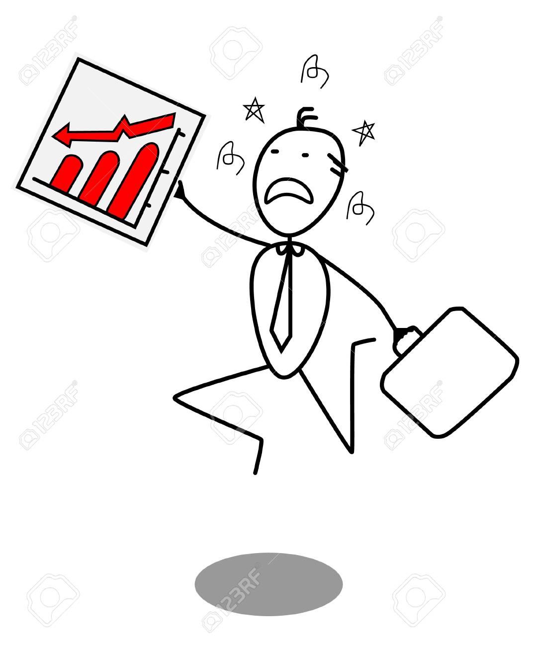 businessman down chart Stock Vector - 13792017
