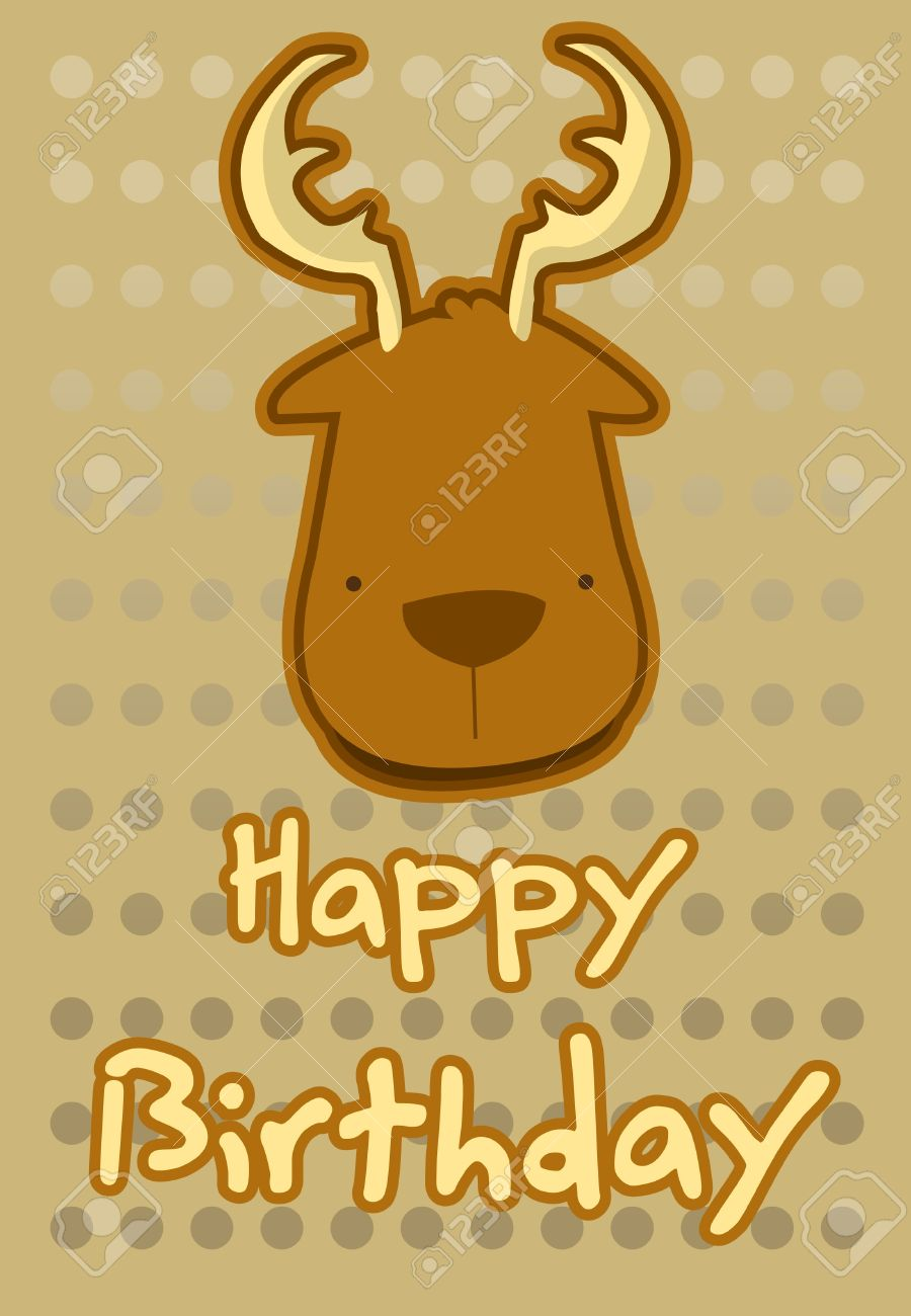 Birthday card with illustration cute deer royalty free cliparts birthday card with illustration cute deer stock vector 15491059 bookmarktalkfo Image collections