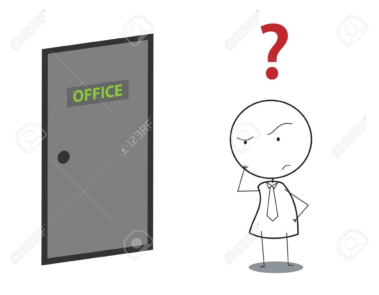 businessman door question Stock Vector - 16247940