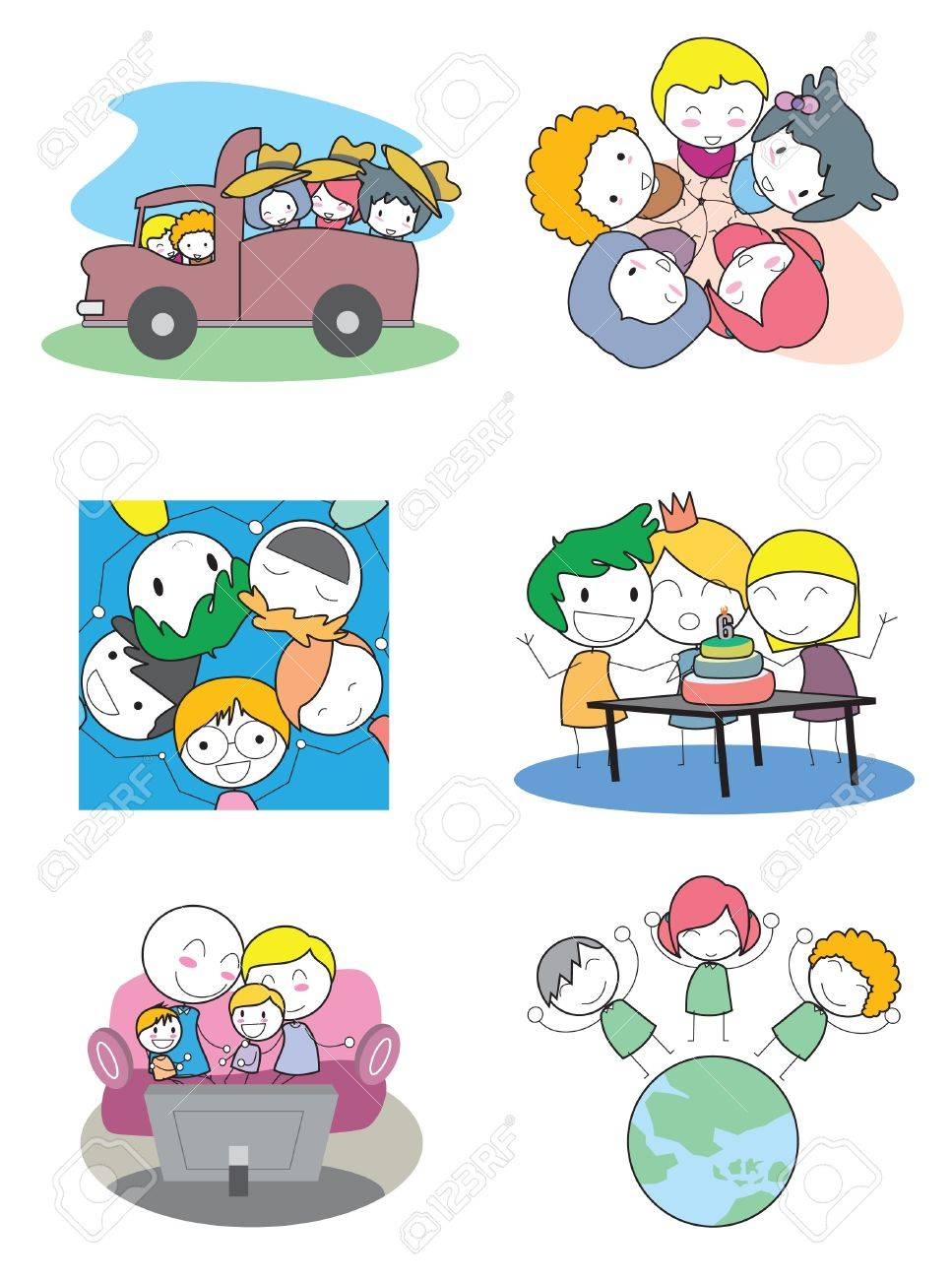 Happy Kids Set Stock Vector - 17306684