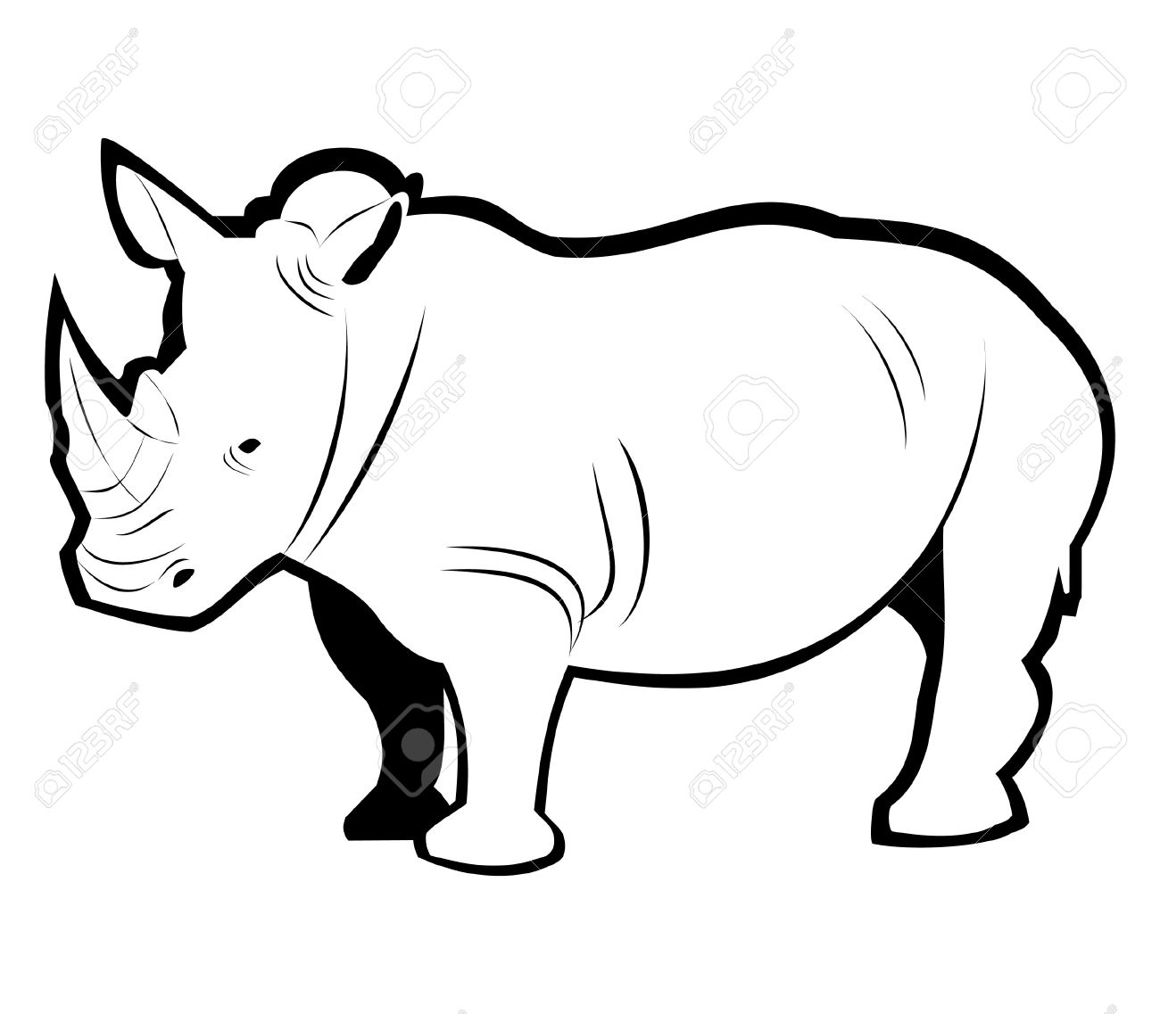 rhino outline royalty free cliparts vectors and stock illustration