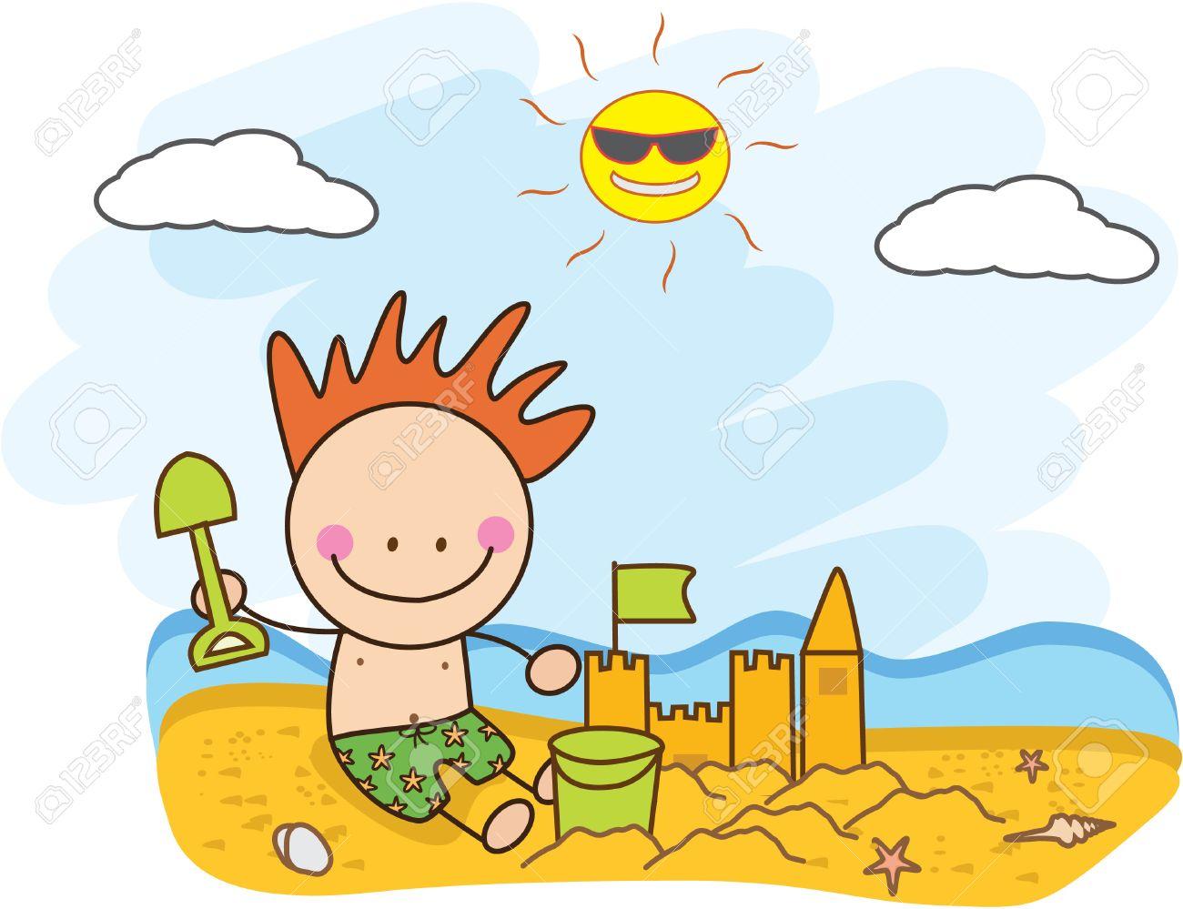 Sandburg clipart  Kinder Bauen Sandburgen Am Strand Lizenzfrei Nutzbare ...