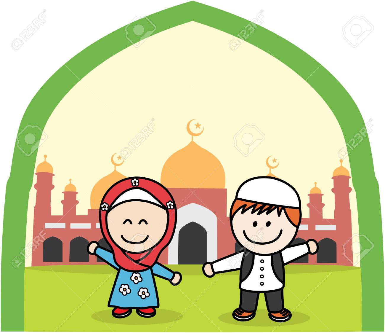 muslim kids royalty free cliparts, vectors, and stock illustration