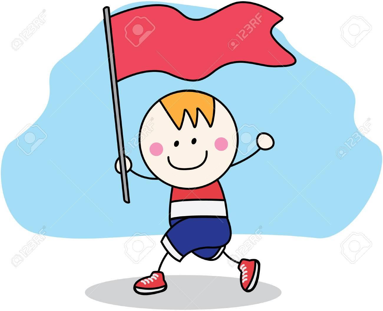 優勝旗と走っている少年のイラスト素材ベクタ Image 45060347