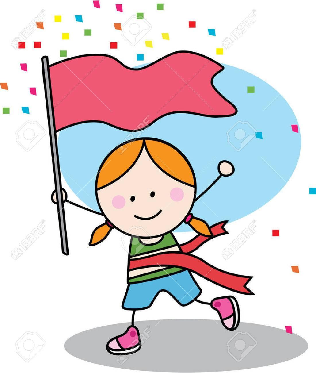 優勝旗と実行している女の子のイラスト素材ベクタ Image 45053826