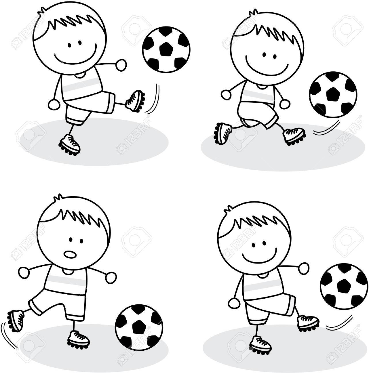 football kids playing at park royalty free cliparts, vectors, and