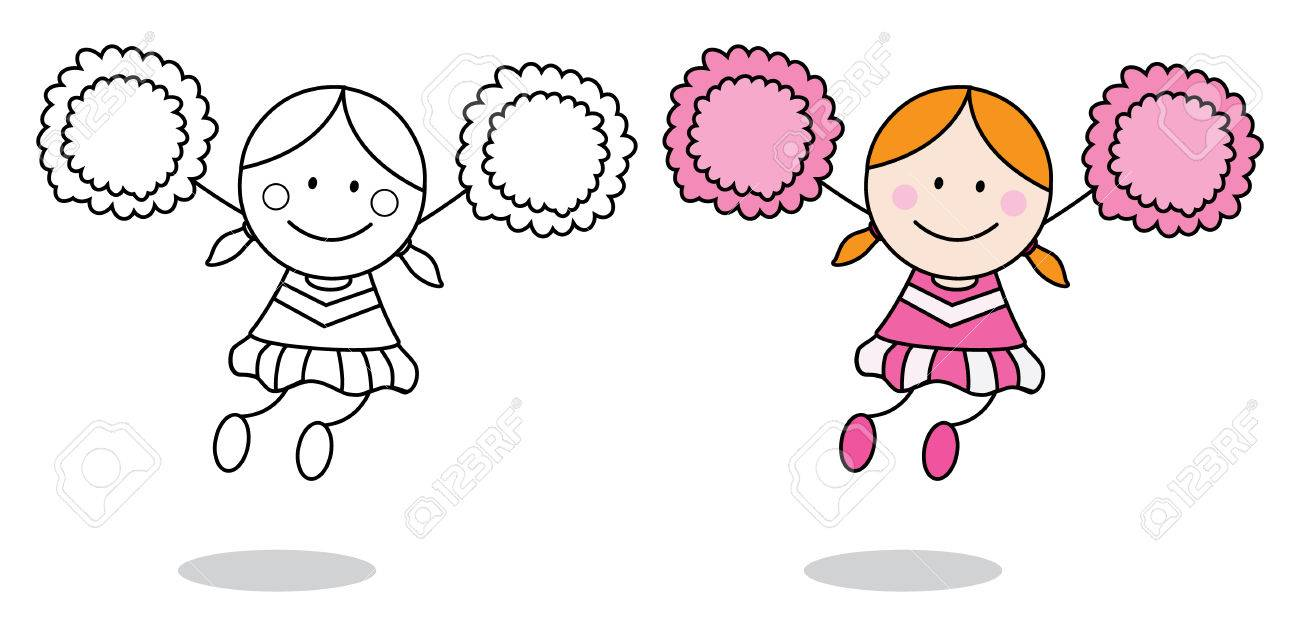 Cheerleader girl coloring page stock vector 45056290