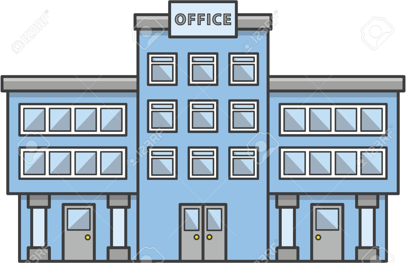 Office Building Doodle Illustration Cartoon Royalty Free Cliparts