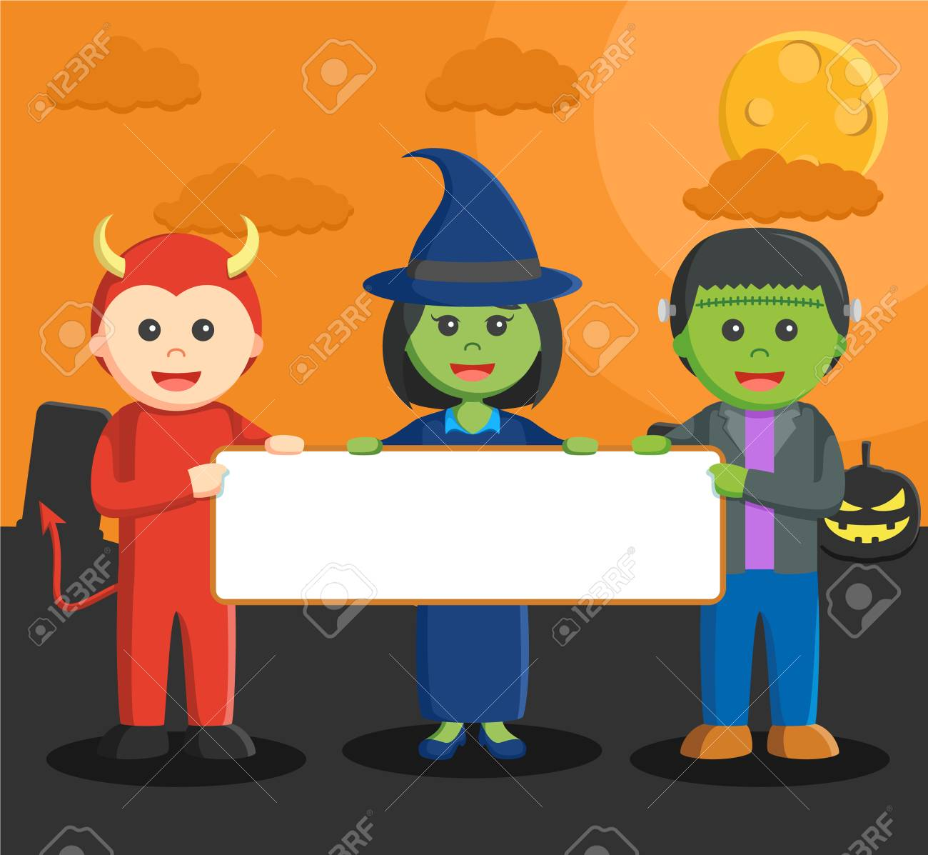 frankestein devil man and witch holding board - 56872691