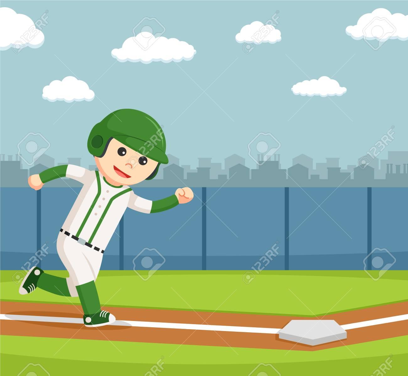 Baseball-Spieler In Den Sicheren Punkt Läuft Lizenzfrei Nutzbare ...