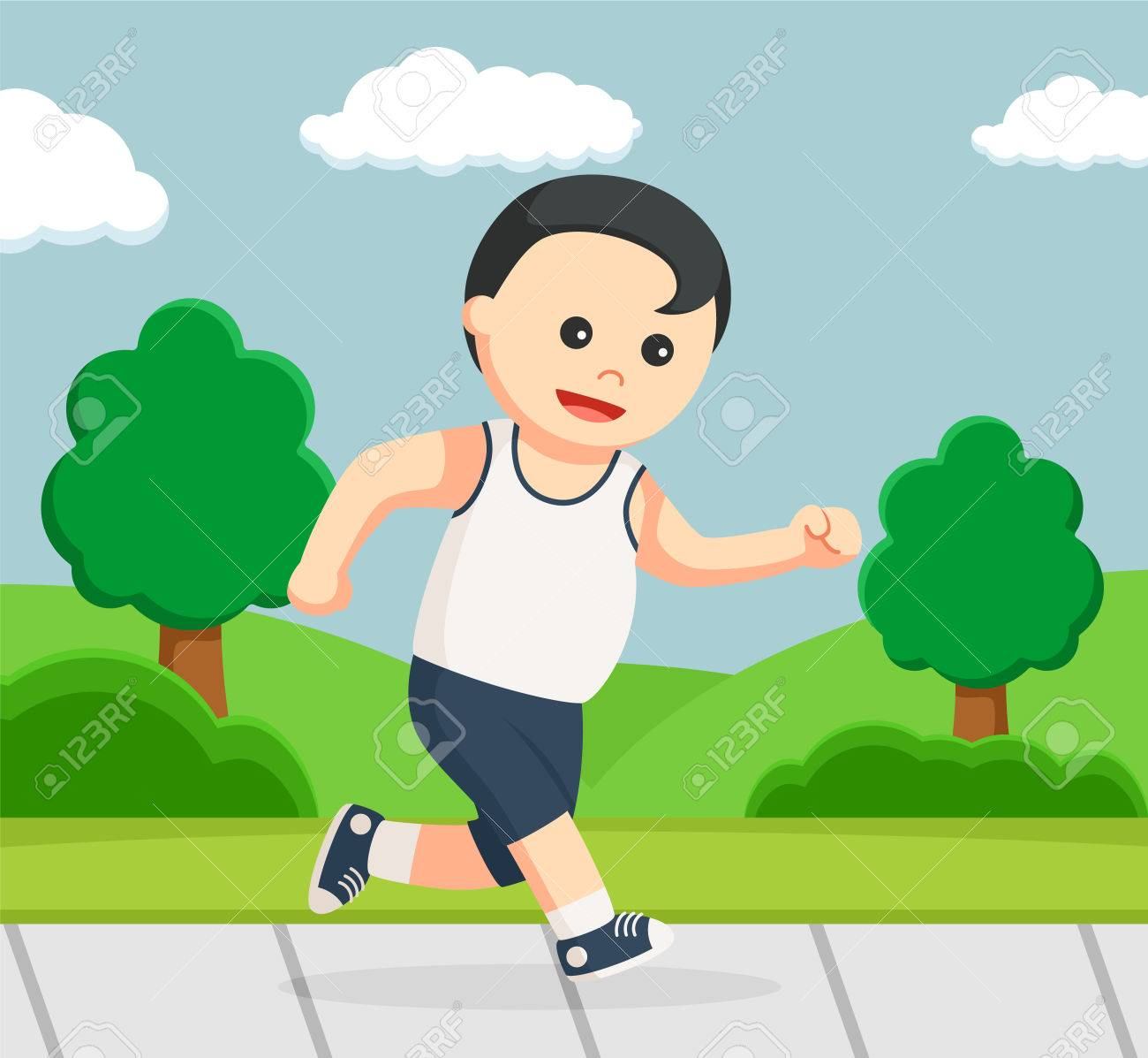 Healthy Fat Man Running In Park Royalty Free Cliparts Vectors And