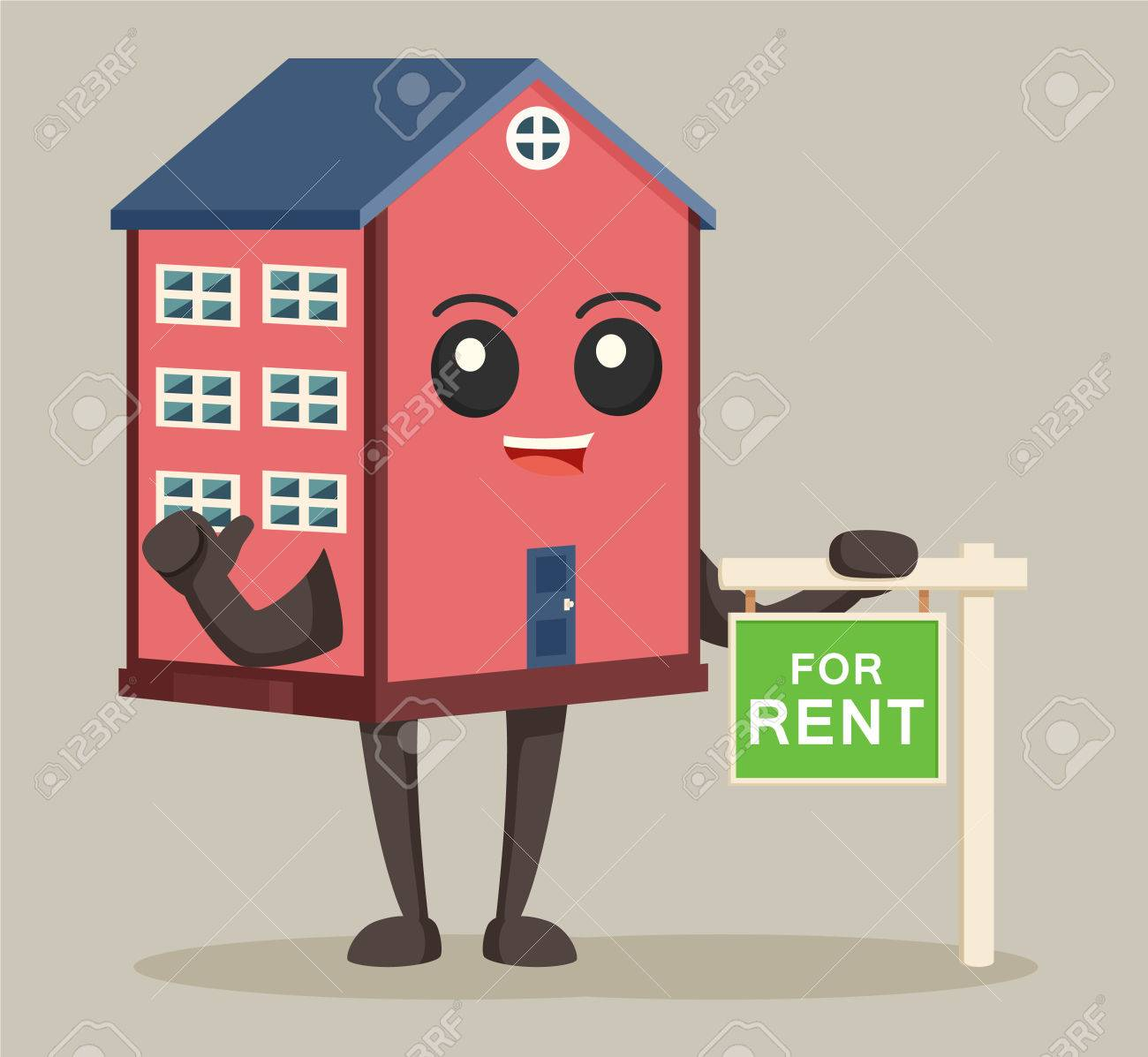 house character with rent sign - 70051213