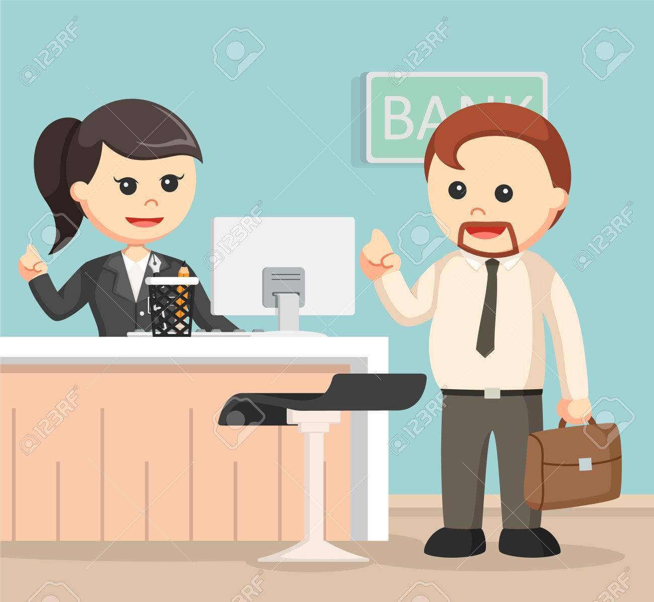 Weibliche Bank Teller Dienen Geschaftsmann