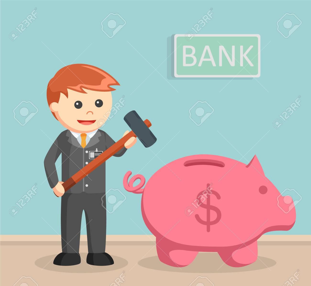 Bank teller want to break piggy bank - 71900571