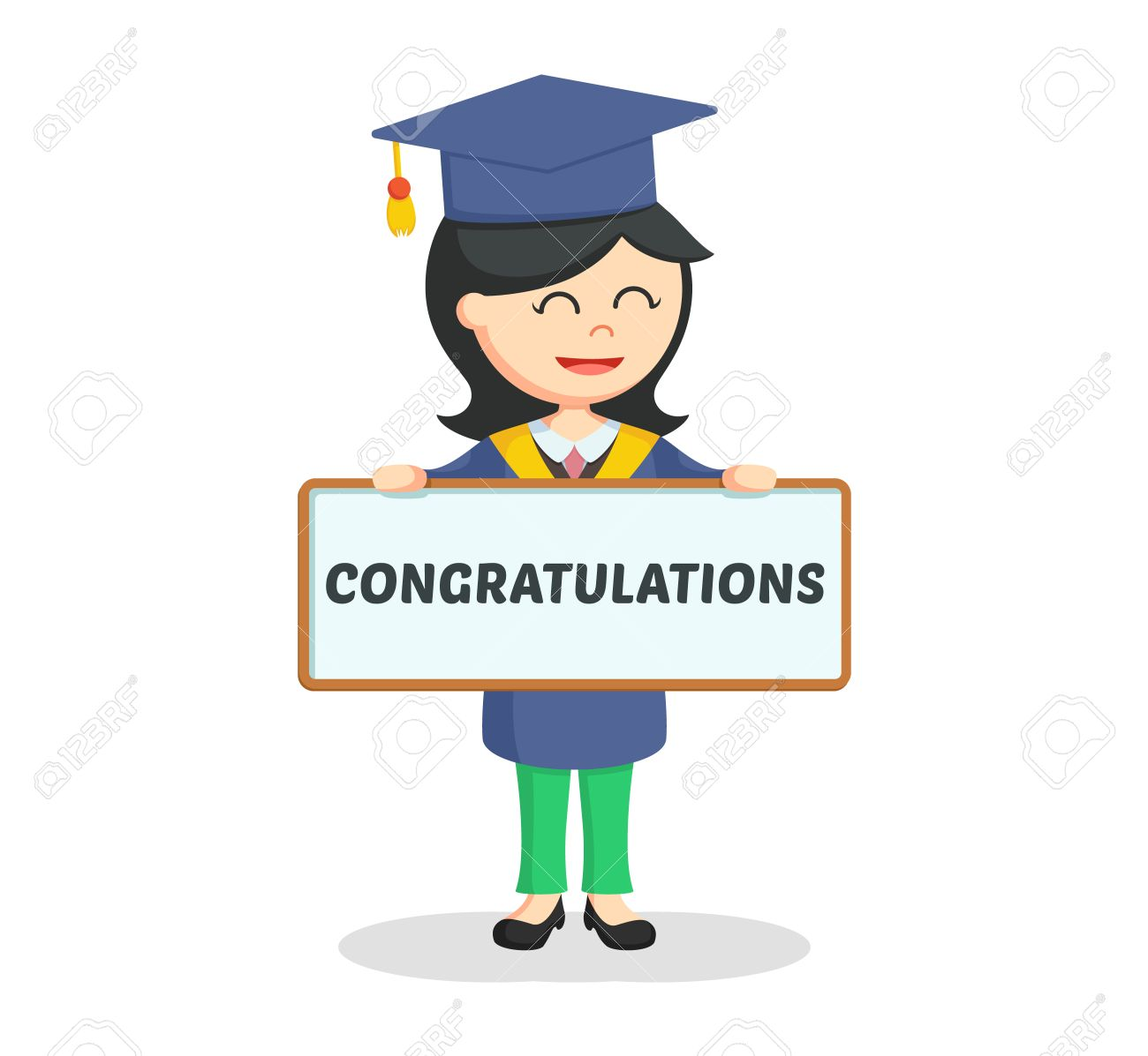 graduate female student with congratulation sign royalty free