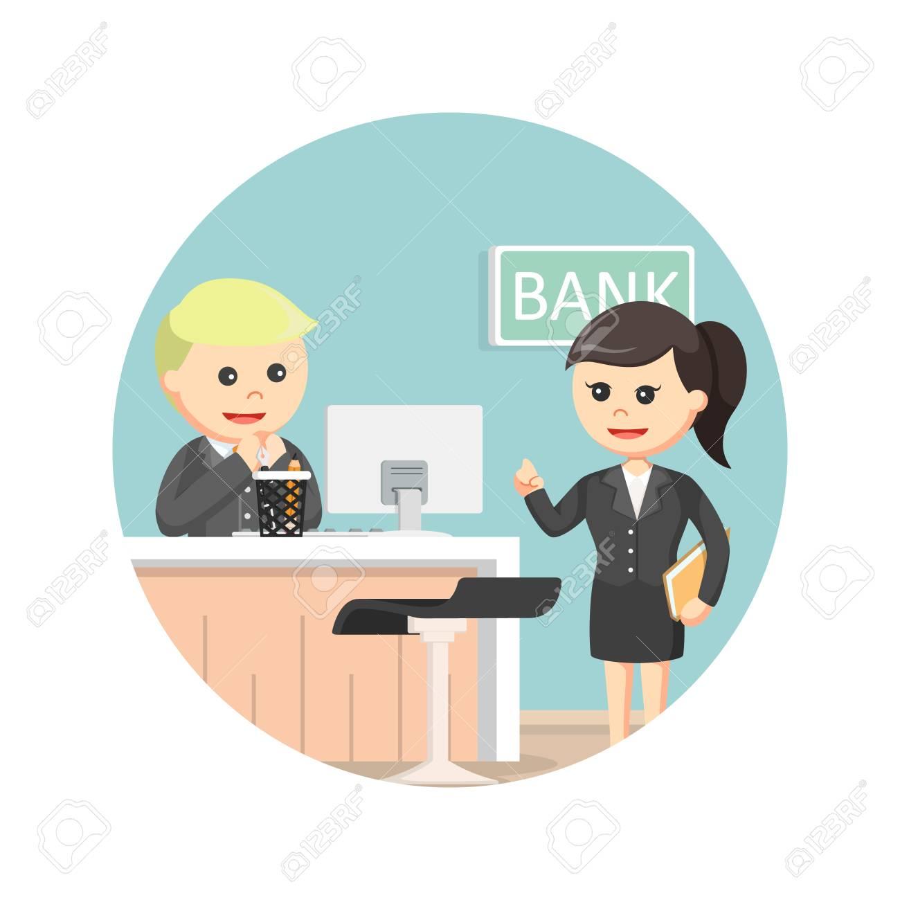 Bank Teller Dienen Geschaftsfrau Im Kreis Hintergrund