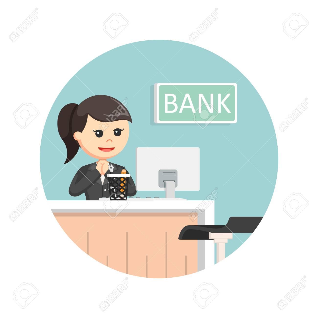 サークルの背景に女性銀行の出納...