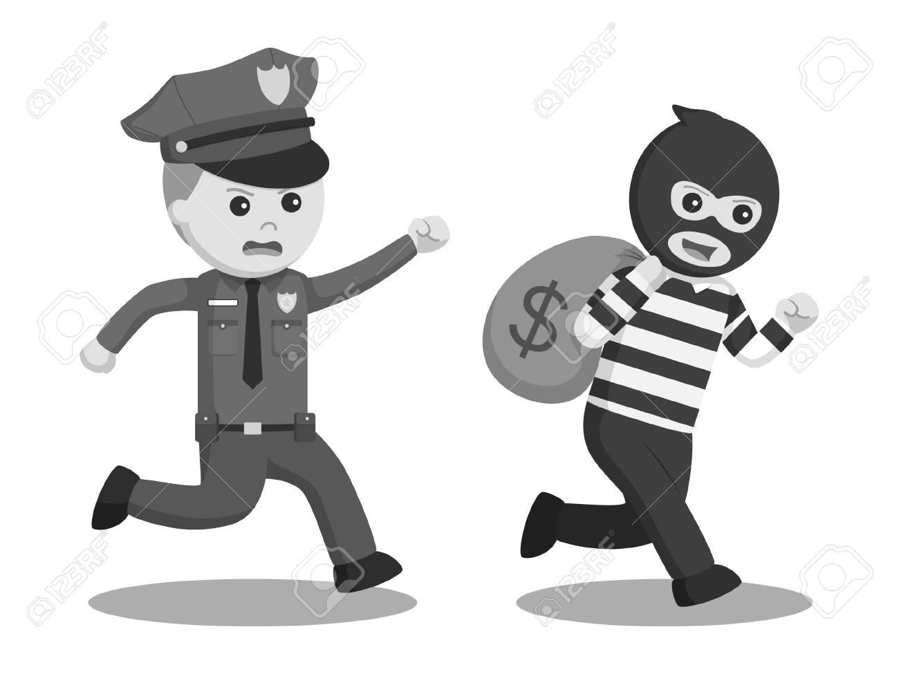 Polizei Buro Ziel Bank Dieb Schwarz Weiss Stil Lizenzfrei Nutzbare