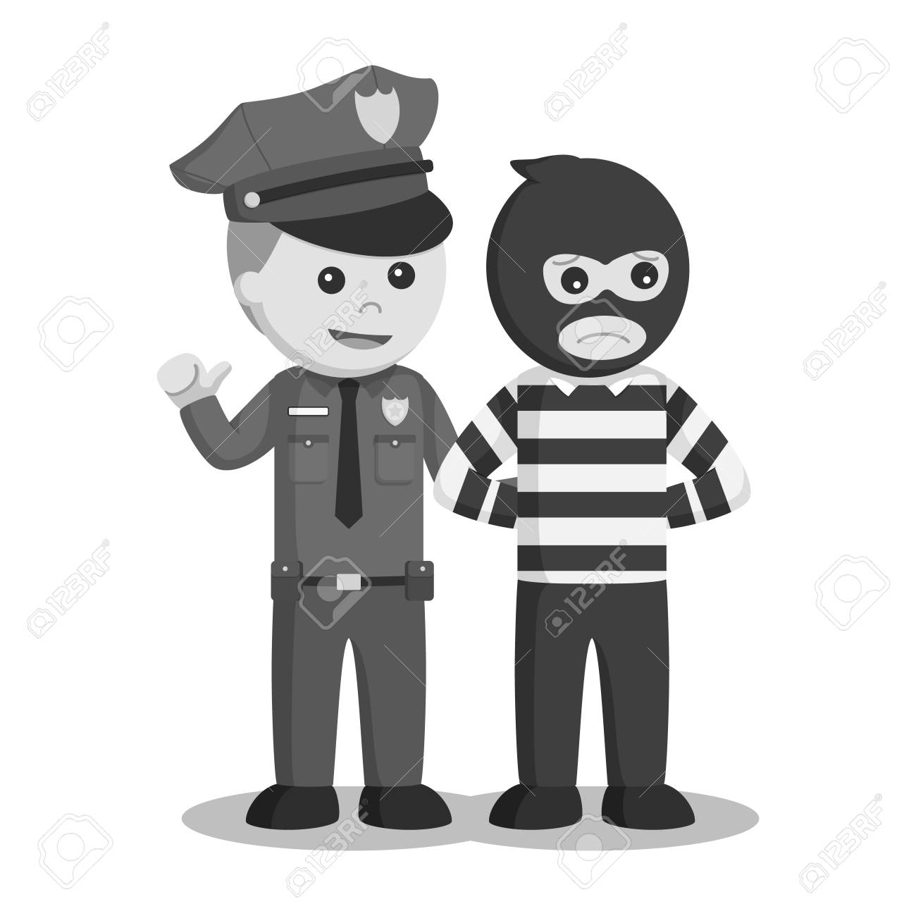 police officer arrest bank thief black and white style royalty free