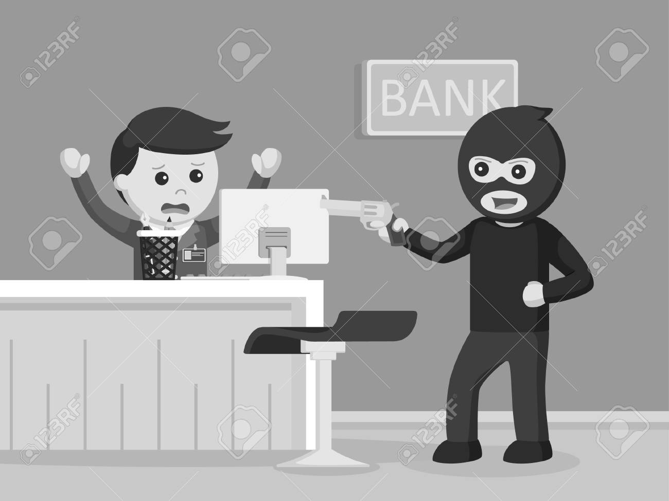 Robber Robbing Bank Black And White Style Royalty Free Cliparts