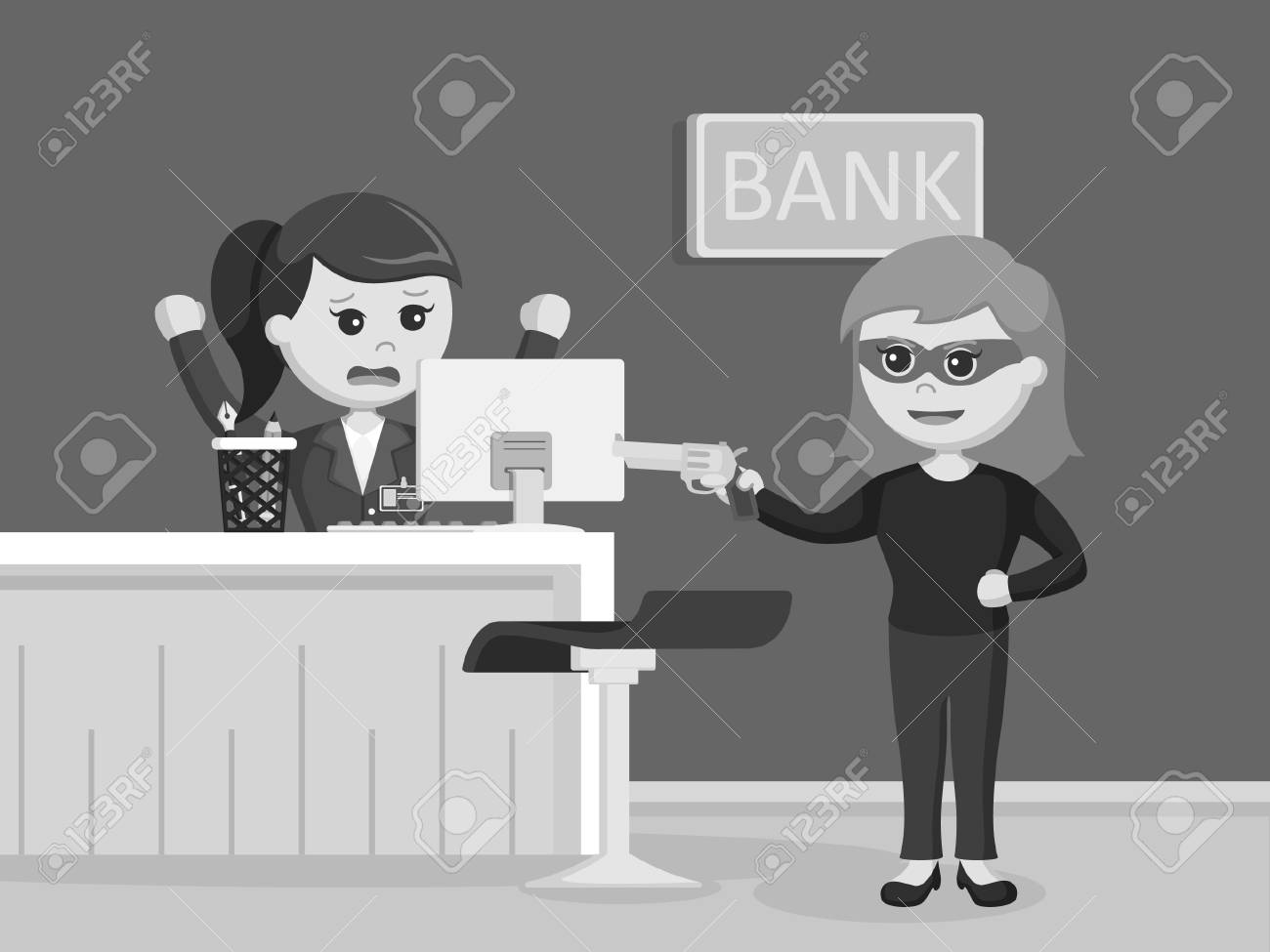 Female Robber Robbing Bank Black And White Style Royalty Free