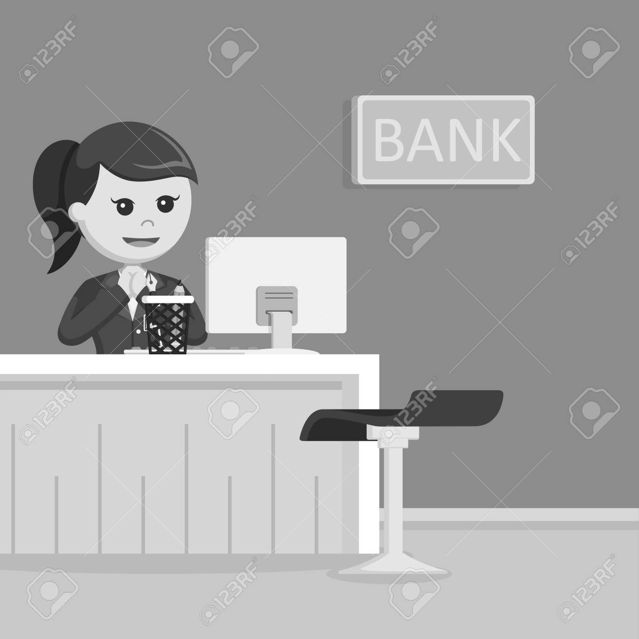 Female Bank Teller Illustration Design Black And White Style Royalty