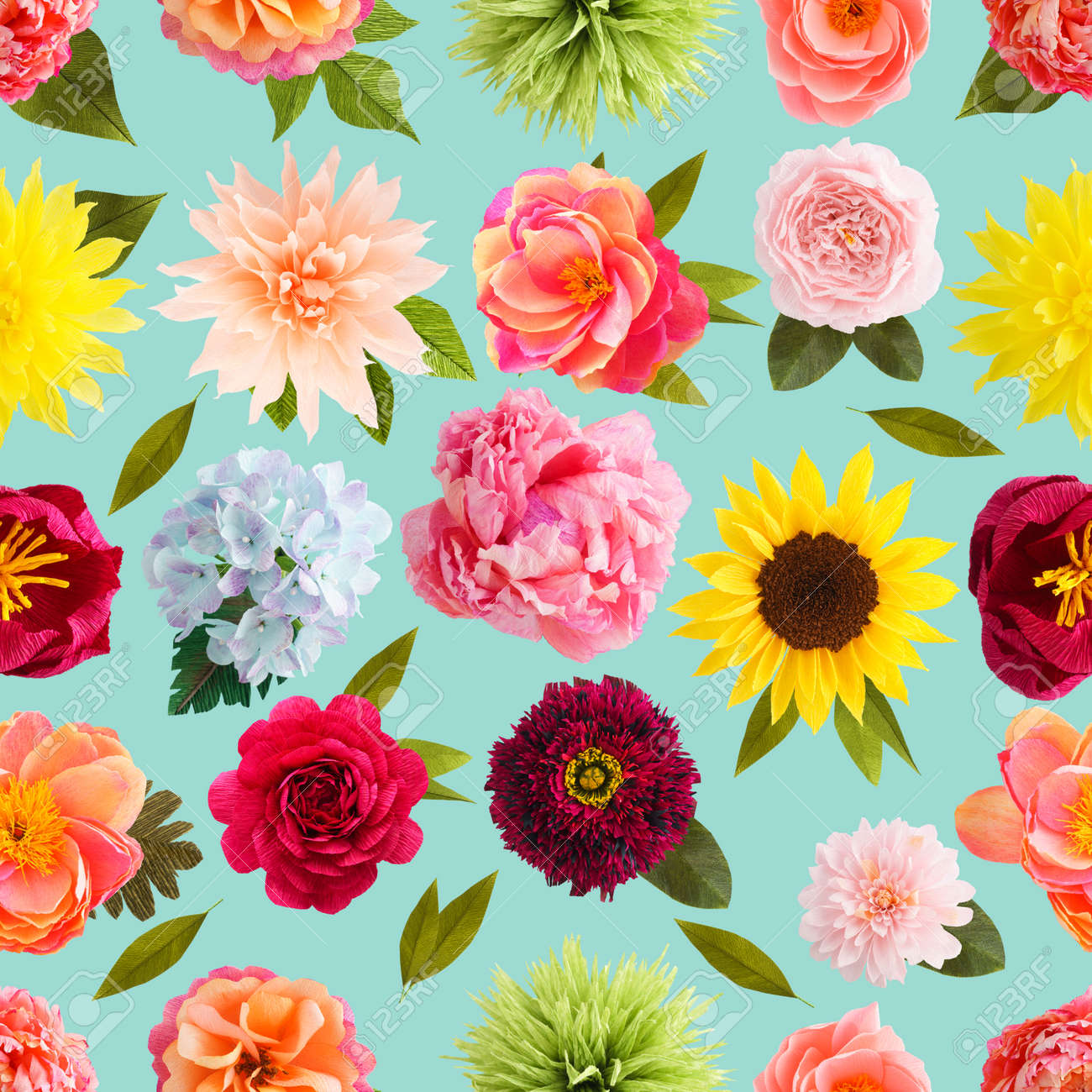 Seamless Pattern With Handmade Crepe Paper Flowers On Turquoise