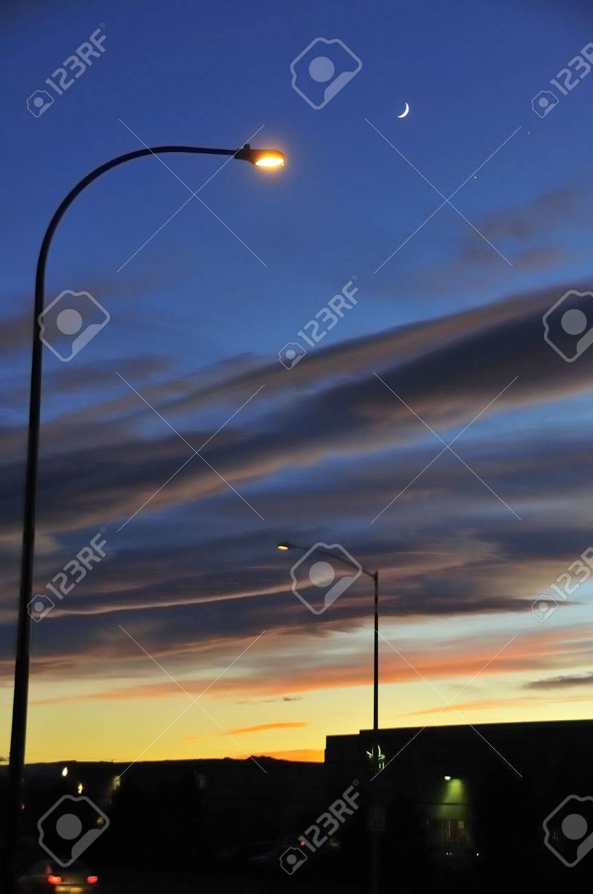 Streetlights with Moon, Venus and Jupiter Conjunction
