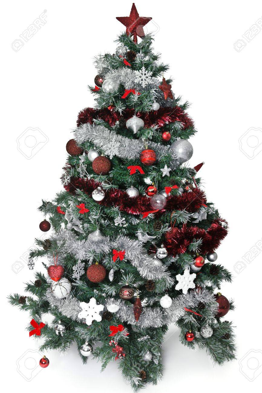 Christmas Tree With Lot Of Silver And Red Decoration