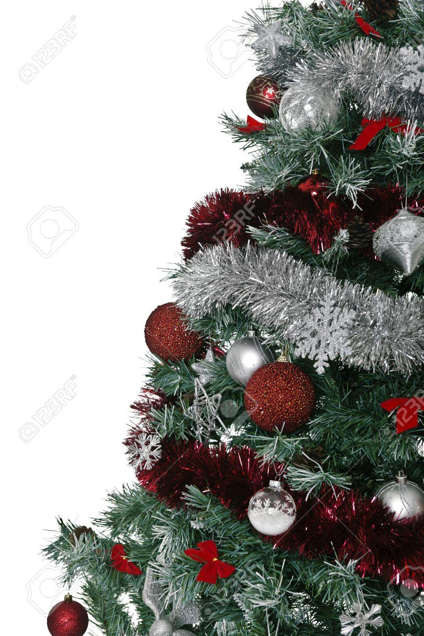 Rbol De Navidad Con Mucha Decoraci N Plata Y Rojo Fotos Retratos