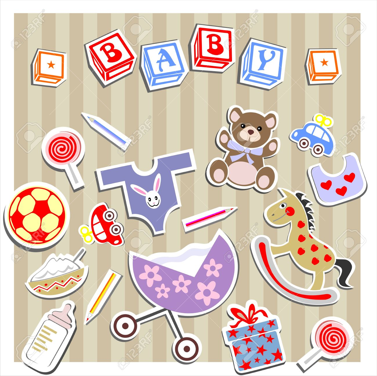 Baby Birth Greeting Card Stock Vector - 12491633