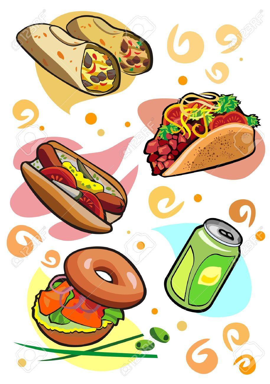Tasty snacks burrito taco bagel lemonade hot dog Stock Vector - 13037232