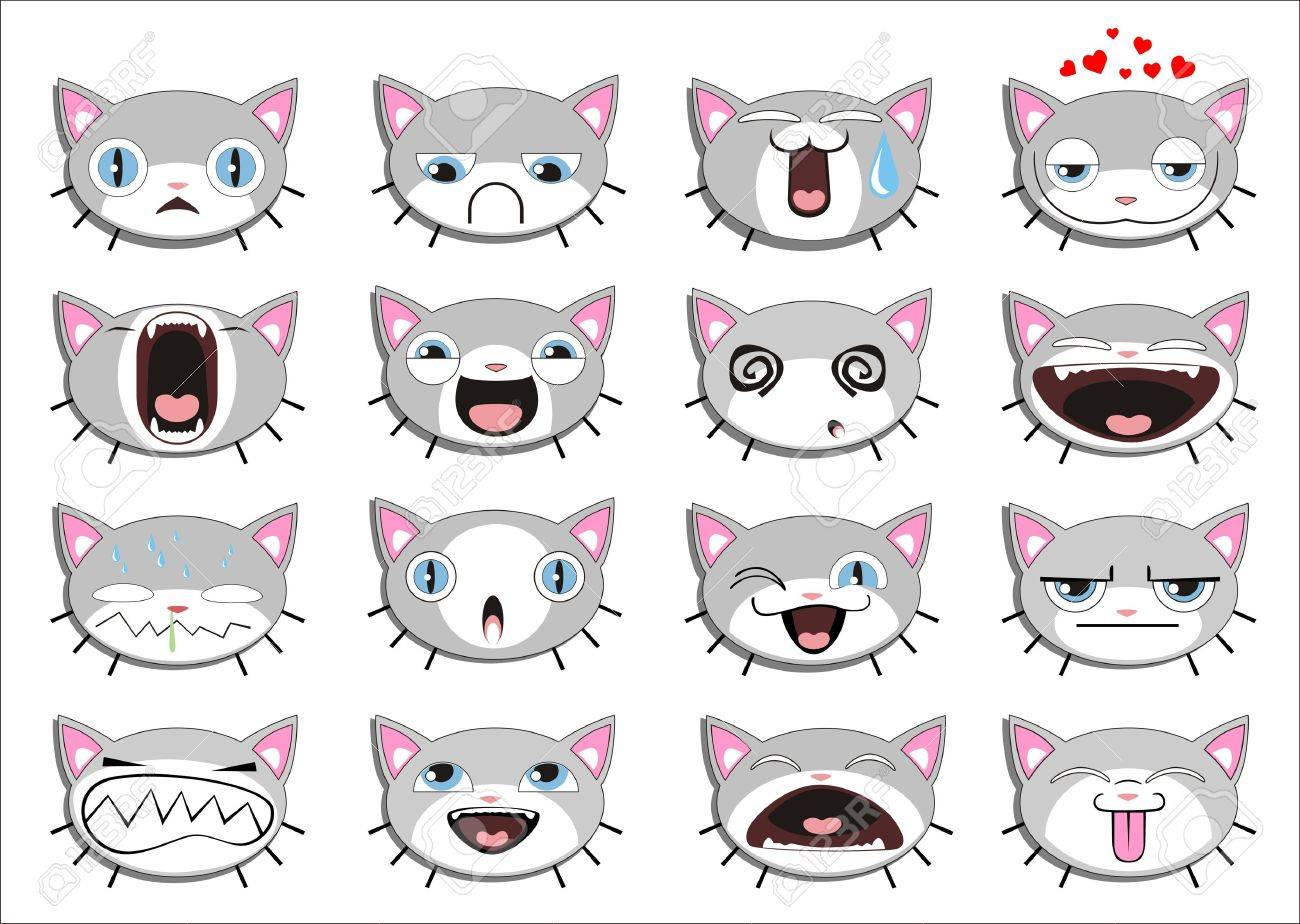 Set of 16 smiley kitten faces. all grouped Stock Vector - 13699554